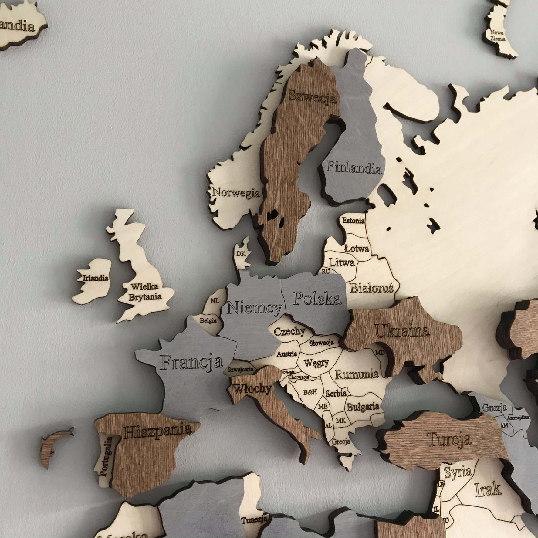 drewniana mapa świata 3D